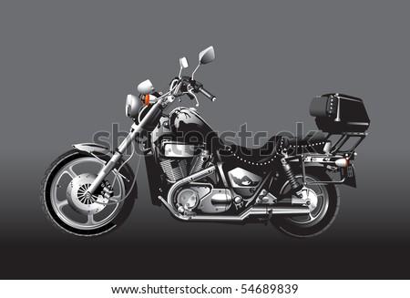 Black motorcycle - stock vector