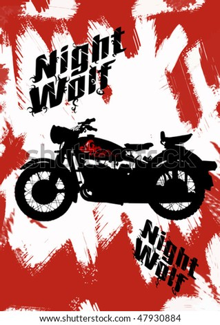 black motorcycle on fire on the night street; - stock vector