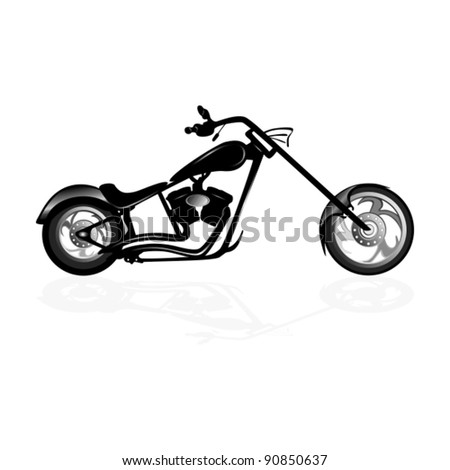 Black motorcycle silhouette isolated on white background - stock vector