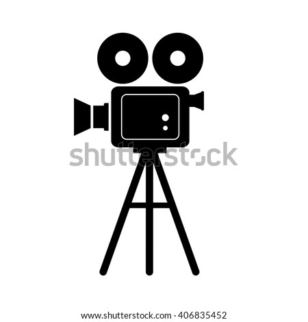 Black Movie Camera On White Background