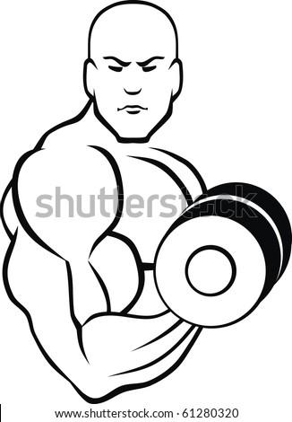 black muscle man - stock vector