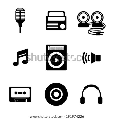 Black Music Icons Vector Illustration - stock vector