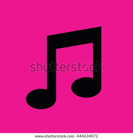 Black music note icon vector. Pink background - stock vector