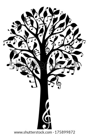 Black music tree isolated on white background. Music notes and treble clefs on tree. Vector illustration.  - stock vector