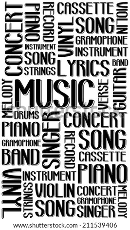 Black music word collage on white background. Seamless vector art image illustration with different association terms. - stock vector