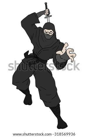 black ninja attack - stock vector