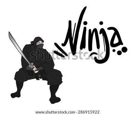 black ninja draw - stock vector