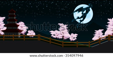 Black Ninja Flying in Japan Night Background with fence, pink trees, moon and sky Cartoon Vector - stock vector