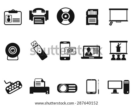 black office technology icons set - stock vector