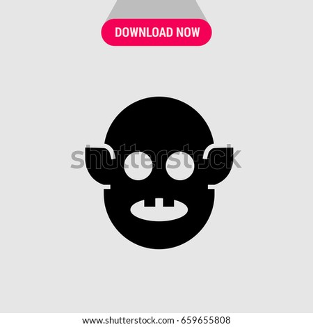 Black Ogre Monster Vector Icon Monster Stock Vector Royalty Free
