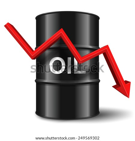 black oil barrel with red arrow on white background - stock vector