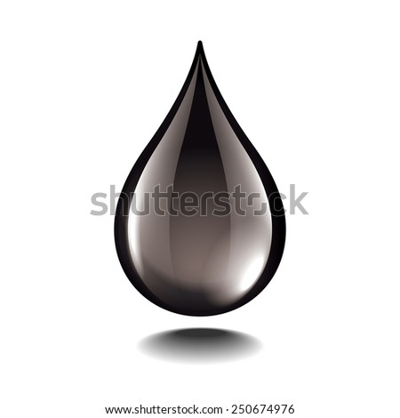 Black oil droplet isolated on white photo-realistic vector illustration - stock vector