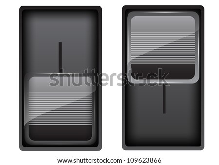 Black on-off switch - stock vector