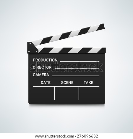Black open clapperboard. Realistic vector illustration. Movie clapper board - stock vector