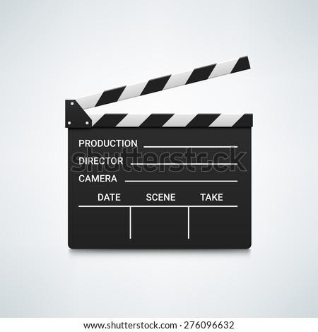 Black open clapperboard. Realistic vector illustration. Movie clapper board. Movie logo. Clapper icon. Movie icon. Movie vector logo. Movie vector icon. Video logo. Clapper vector logo. Movie icon - stock vector