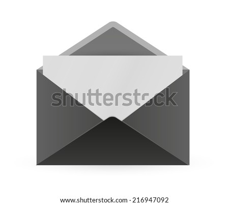 black open envelope and paper with shadow on white background - stock vector
