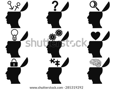 black open human head icons set - stock vector