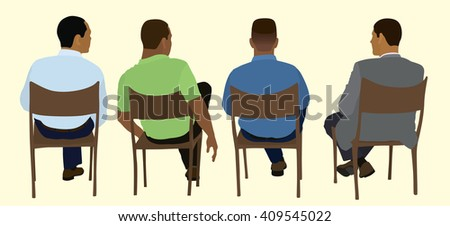Black Or African Business Men Sitting In Chairs Viewed From Behind