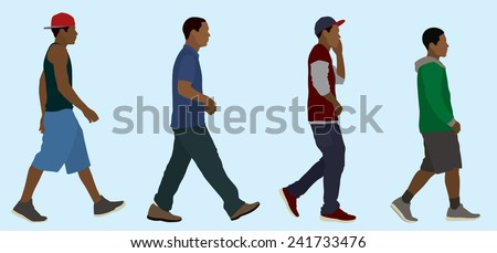 Black or African Teen Boys Walking (Side View) - stock vector