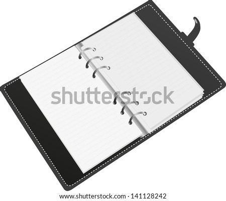 Black organizer on white background. - stock vector