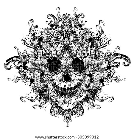 Black ornate skull - stock vector