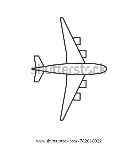 black outline isolated airplane on white background line view from above of aeroplane