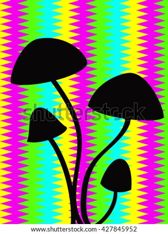 black outline of hallucinogenic mushrooms over the psychedelic stripped background - stock vector