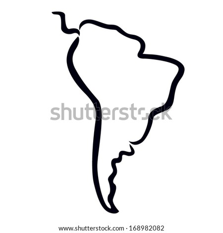 Black Outline Of South America Map