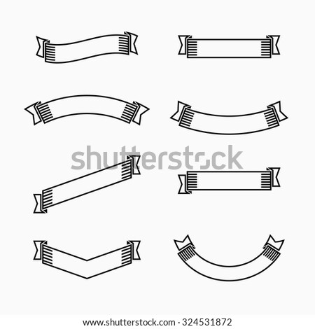 Black outline ribbons set, graphic design elements - stock vector