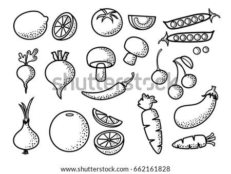 black outline set of vegetables and fruits vector illustration