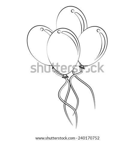 Black outline vector balloon on white background. - stock vector