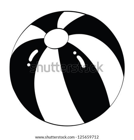 Black outline vector beach ball on white background. - stock vector