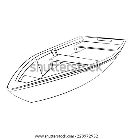 Black outline vector boat on white background. - stock vector