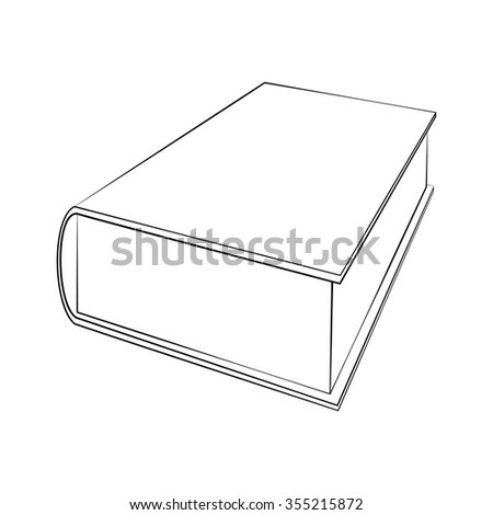 Black outline vector Book on white background.