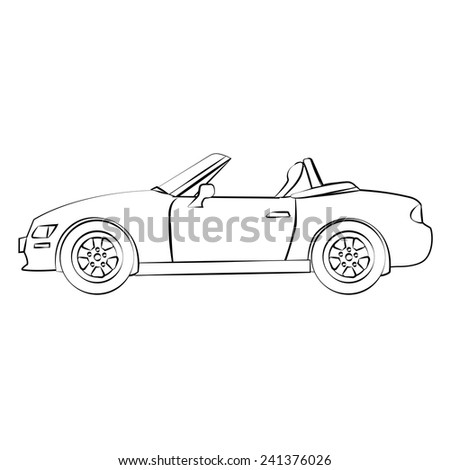 black outline vector car on white background. - stock vector