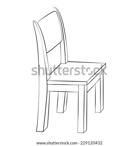 Black outline vector chair on white background. - stock vector