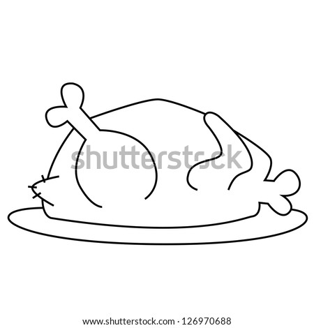 Black Outline Vector Chicken On White Background