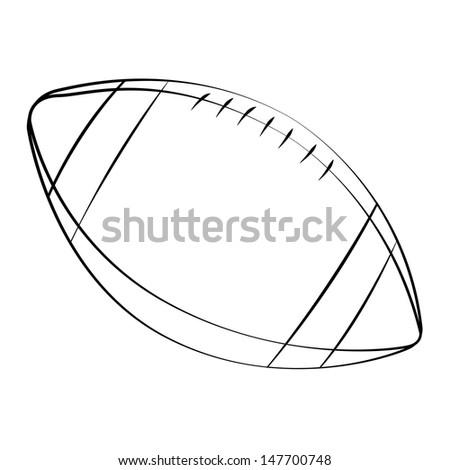 black outline vector football on white background - Football Outline