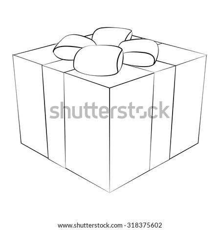 Black outline vector gift box on white background. - stock vector