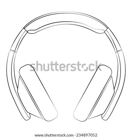 Black outline vector Headphone on white background. - stock vector