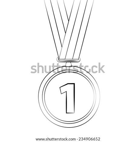 Black outline vector Medal on white background. - stock vector