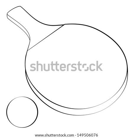 Black outline vector ping-pong on white background. - stock vector