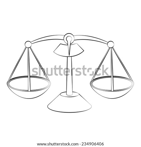 Black outline vector scales on white background. - stock vector