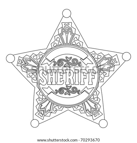 Black outline vector  Sheriff star on white background