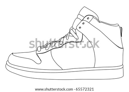 black outline vector shoes on white stock vector 65572321