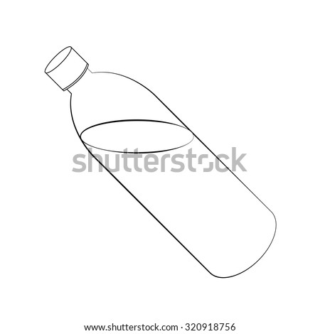 Black outline vector water bottle on white background. - stock vector