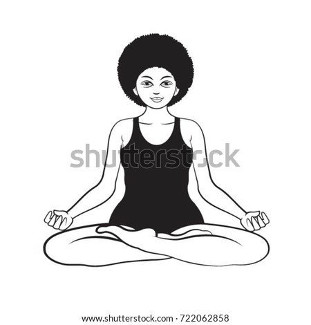 Black Outline Yoga Woman In Meditation Pose Vector Drawing