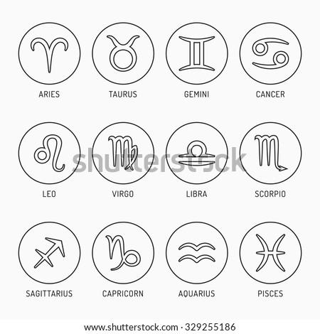 Black outline Zodiac Symbols set  - stock vector