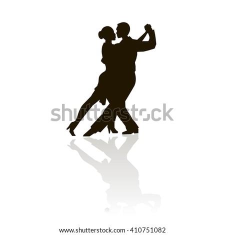 Black outlines figures of dancing man and women on white, grey shadow, tango dancing, vector - stock vector