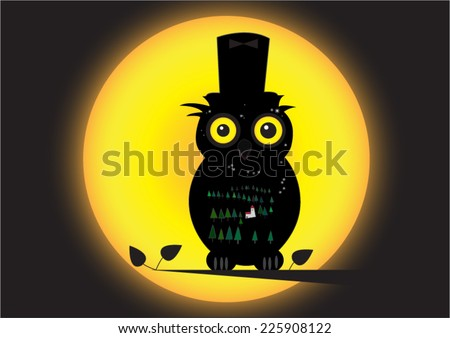 black owl night background - stock vector